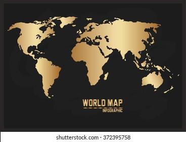 World Map Landmark, Chic Gold World Map on blackboard texture background, vector illustration