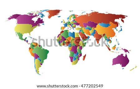 world map linear gradient fill countries stock vector royalty free