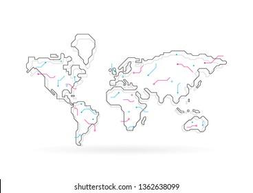 Weltkarte mit abstraktem Konzept, Vektorgrafik