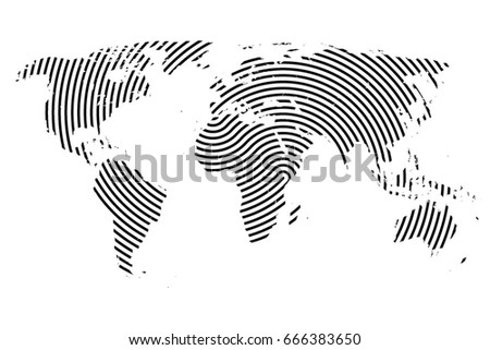World Map Lines World Stripes Map Travel Stock Vector Royalty Free