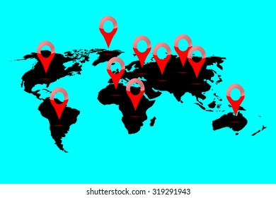 World map location. Continent locate and gps position, pointer navigation, marker and planet, vector graphic illustration