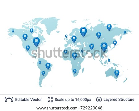World Map Location Pins Markers On Stock Vector Royalty Free