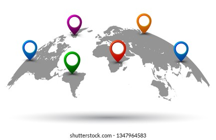 World Map with location - vector
