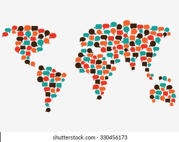 World map made of colorful speech bubbles. Translating, language interpreter and communication vector concept illustration