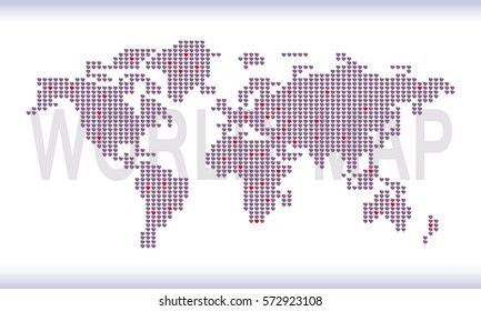 WORLD MAP. is made up of dots, gray-blue background