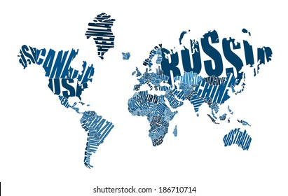 World map made up of the names of countries