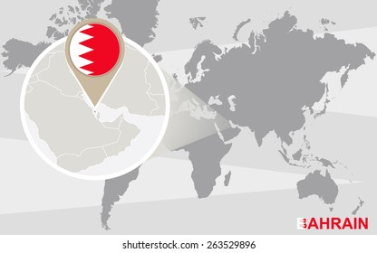 World map with magnified Bahrain. Bahrain flag and map.