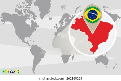 Abstract blue world map magnified brazil stock vector 2018 world map with magnified brazil brazil flag and map gumiabroncs Gallery