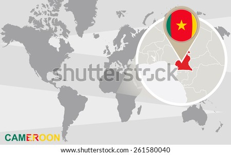 World Map Magnified Cameroon Cameroon Flag Stock Vector (Royalty ...