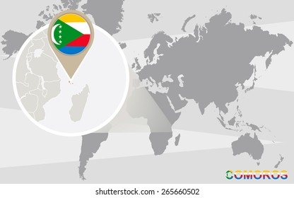 World map with magnified Comoros. Comoros flag and map.