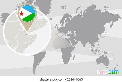 World map with magnified Djibouti. Djibouti flag and map.