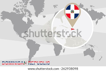 World Map Magnified Dominican Republic Dominican Stock Vector ...