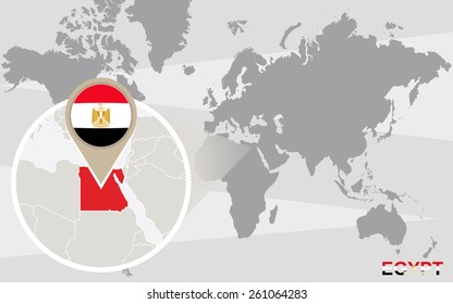 Abstract blue world map magnified egypt stock illustration 508112482 world map with magnified egypt egypt flag and map gumiabroncs Gallery