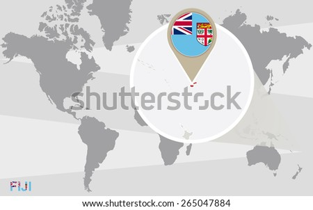 World Map Magnified Fiji Fiji Flag Stock Vector Royalty Free