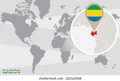 World map with magnified Gabon. Gabon flag and map.