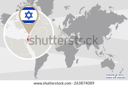 World Map Magnified Israel Israel Flag Stock Vector (Royalty Free ...