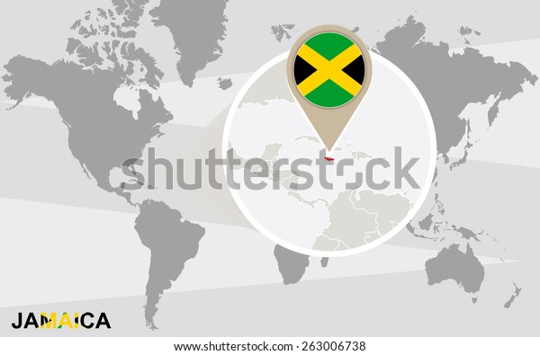 World Map Magnified Jamaica Jamaica Flag Stock Vector ...