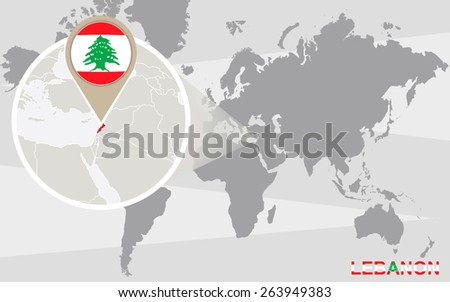 World Map Magnified Lebanon Lebanon Flag Stock Vector Royalty Free