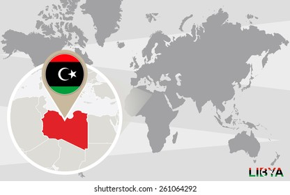 Abstract Blue World Map Magnified Libya Stock Vector (Royalty Free ...