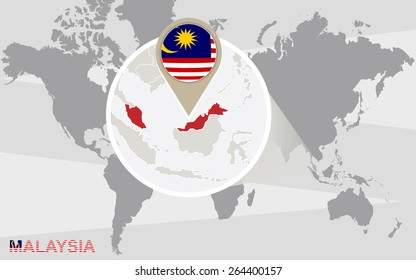 Malaysia On The World Map.World Map Magnified Malaysia Malaysia Flag Stock Vector Royalty