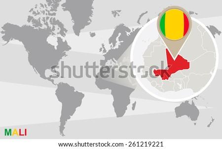 World Map Magnified Mali Mali Flag Stock Vector Royalty Free