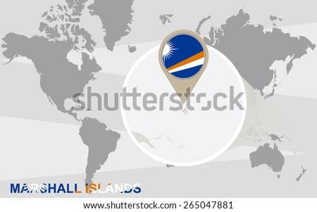World Map Magnified Marshall Islands Marshall Stock Vector (Royalty ...