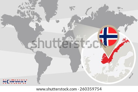 World Map Magnified Norway Norway Flag Stock Vector Royalty Free