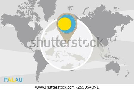 World Map Magnified Palau Palau Flag Stock Vector Royalty Free