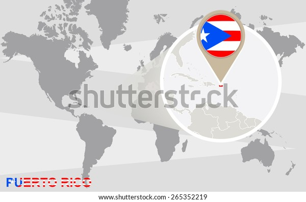 World Map Magnified Puerto Rico Puerto Stock Vector (Royalty ...
