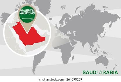 World map with magnified Saudi Arabia. Saudi Arabia flag and map.