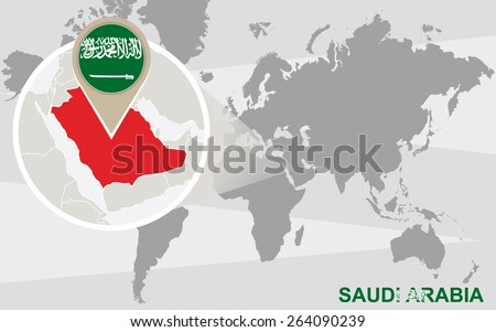 World Map Magnified Saudi Arabia Saudi Stock Vector (Royalty Free ...