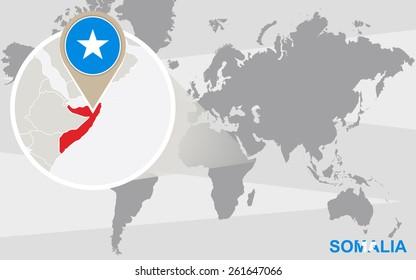 World map with magnified Somalia. Somalia flag and map.