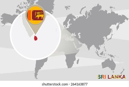 World map with magnified Sri Lanka. Sri Lanka flag and map.