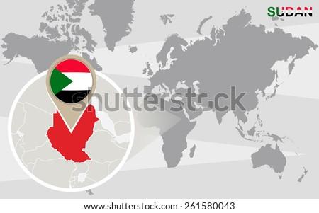 World Map Magnified Sudan Sudan Flag Stock Vector Royalty Free