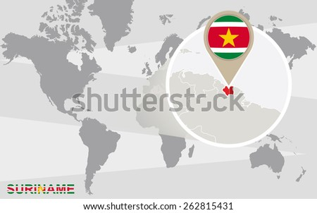 World Map Magnified Suriname Suriname Flag Stock Vector Royalty