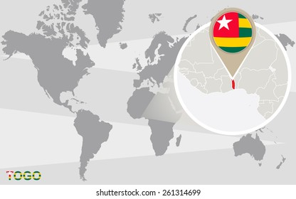 World map with magnified Togo. Togo flag and map.