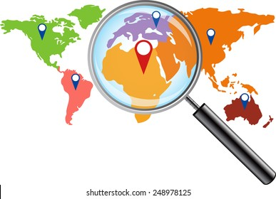 World map magnifying glass stock illustration 248978122 shutterstock world map with magnifying glass gumiabroncs Gallery