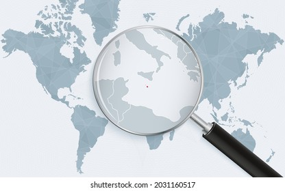 World map with a magnifying glass pointing at Malta. Map of Malta with the flag in the loop. Vector illustration.