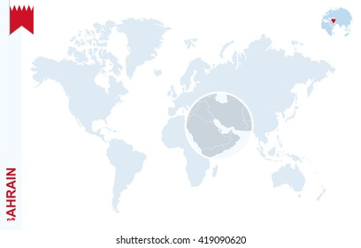 World map with magnifying on Bahrain. Blue earth globe with Bahrain flag pin. Zoom on Bahrain map. Vector Illustration
