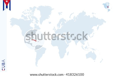 World Map Magnifying On Cuba Blue Stock Vector (Royalty Free ...