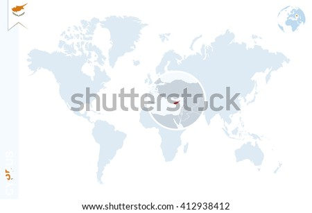 World Map Magnifying On Cyprus Blue Stock Vector Royalty Free