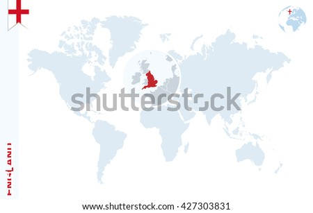 World Map Magnifying On England Blue Stock Vector (Royalty Free ...