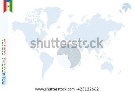 World Map Magnifying On Equatorial Guinea Stock Vector (Royalty Free ...