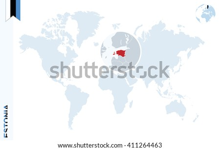 World Map Magnifying On Estonia Blue Stock Vector Royalty Free