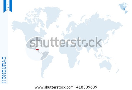 World Map Magnifying On Honduras Blue Stock Vector (Royalty Free ...