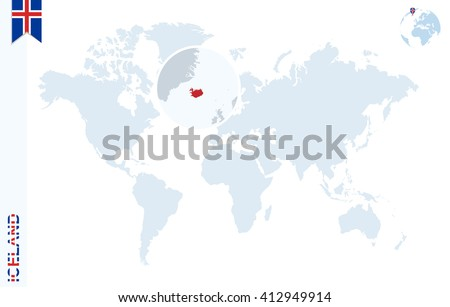 World Map Magnifying On Iceland Blue Stock Vector (Royalty Free ...