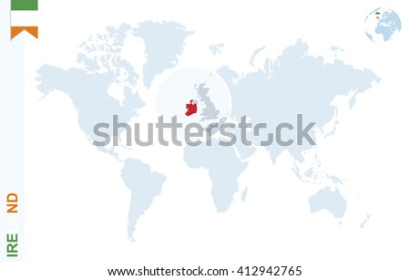 World Map With Ireland.World Map Magnifying On Ireland Blue Stock Vector Royalty Free