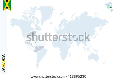 World Map Magnifying On Jamaica Blue Stock Vector (Royalty Free ...