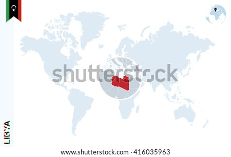 World Map Magnifying On Libya Blue Stock Vector Royalty Free