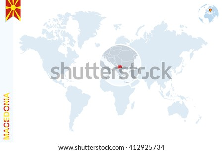 World Map Magnifying On Macedonia Blue Stock Vector Royalty Free